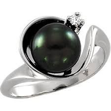 Image result for black pearl & diamond ring