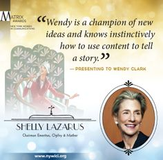 Shelly Lazarus, Chairman Emeritus of Ogilvy & Mather, presented Wendy Clark her #Matrix14 award, citing her incredible knack for developing a story.