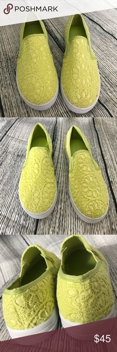 "[Dollhouse] Embroidered Lace Slip Ons New 02 Heel ht. 1""; lightly padded footbed; rubber outsole. All manmade. SCE00300 Dollhouse Shoes Sneakers"