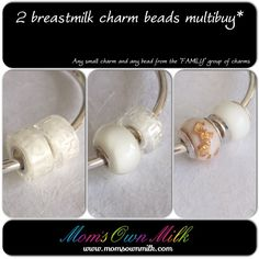 """Save on your purchase with our multibuy options. Prices start at £ 57.50 and it includes single inclusions. Choose between any small charm bead (smooth or faceted) and any of the """"FAMILY"""" group of charms. Mix and match to suit your style.   Order at www.momsownmilk.com/basic-charm-beads.   #breastmilkjewellery"""