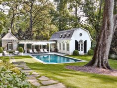 Pool House Designed by Stan Dixon. Pool set away from house with stone paver path from house to pool. Exterior House Colors, Exterior Design, Outdoor Spaces, Outdoor Living, Outdoor Seating, Pool House Designs, Design Blog, Design Design, Pool Houses