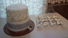 Bling wedding cake with matching cupcakes