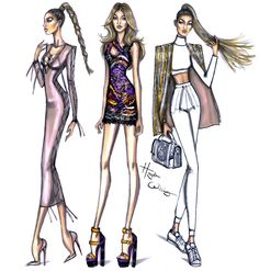 Hayden Williams Fashion Illustrations: Gigi Hadid PFW looks by Hayden Williams