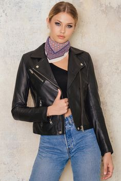 You can never have too many leather jackets! The Duris Jacket by Samsoe &… Jackets Online, Fashion Boutique, My Girl, Women Wear, Fashion Outfits, How To Wear, Clothes, Black Leather, Leather Outfits