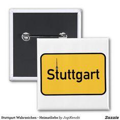 Stuttgart Wahrzeichen - Heimatliebe Quadratischer Button 5,1 Cm  #stuttgart #heimatliebe #landeshauptstadt #stuggi #fernsehturm #wahrzeichen #trendy #chic #stgt #baden #württemberg #0711 #pin #button #anstecker