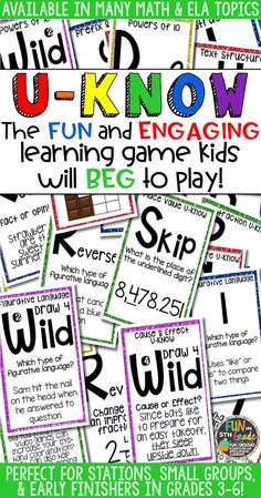 Students love playing U-Know games for fun REVIEW or test prep. It's a perfect addition to any small group or station, and great for early finishers. U-Know is a fun learning game played similar to UNO except if you get an answer wrong, you have to draw two! There are MANY topics available with many more it the works.