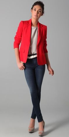 red blazer and polka dots....I wouldn't tuck in the shirt though not my style to tuck things in