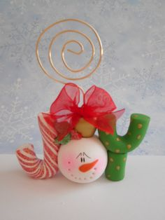 "Polymer Clay Snowman ""JOY"" Card/Photo Holder - pinned by pin4etsy.com"