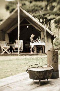 Wainamu Luxury Tents, Bethels Beach New Zealand - use marae style hut for nativity scene to make it kiwiana.