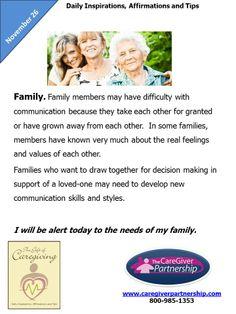 November 26 Daily CareGiver Affirmation: Family #caregiver #caregiving