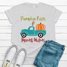 Excited to share this item from my shop: Pumpkin Kisses Harvest Wishes Shirt Thanksgiving Shirt Family Farm Pumpkin Harvest Shirt Fall Shirt Pumpkin Patch Shirt Fathers Day Shirts, Dad To Be Shirts, Funny Thanksgiving Shirts, Womens Bodysuit, Men Design, Dress Socks, Fall Shirts, Kisses, Harvest