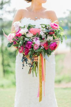 Designed by Juli Vaugh, this beribboned summer bouquet featured lush blooms in various shades of pink and ripening blueberries. Summer Wedding, Dream Wedding, Wedding Day, Flower Bouquet Wedding, Floral Wedding, Bridal Bouquets, Autumn Bride, Georgia Wedding, Marie