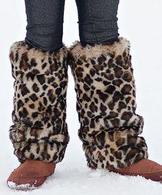 Loving this Brown Leopard Faux Fur Leg Warmers on #zulily! #zulilyfinds