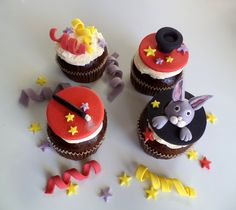Magician Fondant Cupcake Toppers, with Bunny, Hat and Magic Wand and Ribbons - Magic Birthday Cake Decor - set of 12 by allsugarheart on Etsy