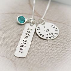 Godmother Necklace I Love You To the Moon and Back Sterling Silver