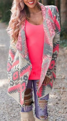 Gotta love Pink in the Fall I love gray and pink!!! Add tribal pattern to that = Perfect
