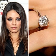 Ashton Kutcher's fiance, Mila Kunis, wears a five-carat emerald cut solitaire diamond engagement ring. The band features a semi pave inlay.