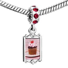 Pugster Ruby Red Swarovski Crystal Dangle Heart Topped Cupcake photo Bead Silver Plated Bead Fits Pandora Charms Bracelet Pugster,