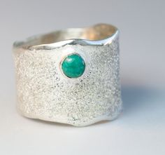 Turquoise stone Wide Silver ring, Turquoise Solitaire ring rough textured wide ring