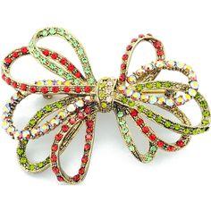 Multicolor Bowknot Swarovski Crystal Pin Brooch - Fantasyard Costume Jewelry & Accessories