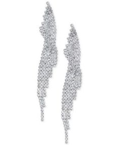 Say Yes to the Prom Silver-Tone Pave Swirl Drop Earrings, a Macy's Exclusive Style  - Silver