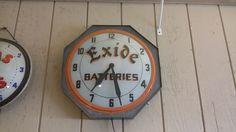 Old Original EXIDE BATTERIES Gas Station light Up Dealership Clock
