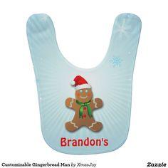 Customizable Gingerbread Man Baby Bib