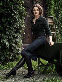 Rachel Weisz wearing tartan with boots & jumper