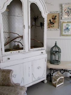What a great idea. This old armoire has been repurposed as a bird cage... WOW spadeandbroom.com Parakeets, Cockatiel, Parrots, Armoire Vitrine, Antique Armoire, Armoire Pantry, Finches, Bird Cages, Diy Bird Cage
