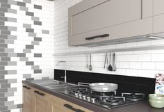Monochrome kitchen ideas using black, grey and white tiles as splash back tiles to create a modern kitchen. FREE SAMPLES are available online. Kitchen Splashback Tiles, White Tiles, Leroy Merlin, Grey And White, Black, Stove, Kitchen Appliances, Beige, Pasta