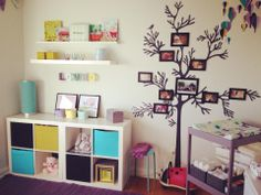 Kids room with family tree.