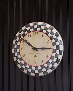 """""""Courtly Check"""" Clock by MacKenzie-Childs at Neiman Marcus."""