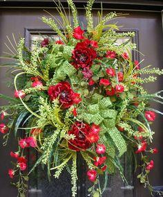 Wild Summer Wreaths, Summer Wreaths For Door, Red and Green, Door Wreaths
