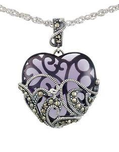 Lord & Taylor Marcasite Heart Pendant Necklace Women's Purple