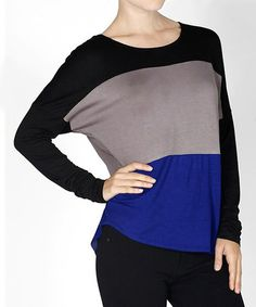 Love this Black & Royal Blue Color Block Dolman Tunic on #zulily! #zulilyfinds