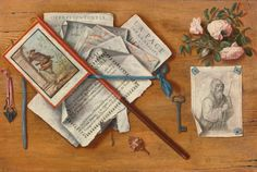 """Antonio Cioci (Italian painter), """"Trompe-L ' oeil with pages and other objects"""", Oil on canvas, eighteenth century, SOTHEBY ' S AUCTION HOUSE, Auction, 30 January 2015 (estimated 12.000-16.000 dollars and beat at $ 15.000)."""