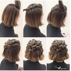 Frisuren für kurze Haare: Halber Pferdeschwanz geflochten, Frisuren für kurze Haare: Halber Pferdeschwanz geflochten Pensez à chicago fameuse « petite robe noire Short Hair Styles Easy, Braids For Short Hair, Girl Short Hair, Medium Hair Styles, Curly Hair Styles, Wavy Hair, Thick Hair, Short Hair Tricks, Short Hair Ponytail Hairstyles