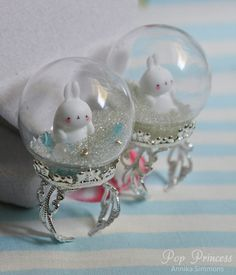 White Molang Bunny Rabbits in Glass Snow Globe by lepopprincess, $15.00