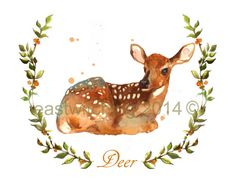BABY FAWN WOODLAND Nursery Print - Peaceful Fawn - landscape - portrait format    Part of a series of 4 new woodland wreath animals that I have