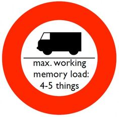 This is why I have to write it all down. Cognitive Load Traffic Sign: Cognitive Load Traffic Sign 4-5 Things