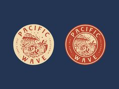 Design for Pacific Wave, Santa Cruz, CA designed by Rise Wise. Connect with them on Dribbble; Logo Branding, Branding Design, Beer Logo Design, Corporate Branding, Brand Identity, Badges, Brewery Logos, Logo Process, Waves Logo