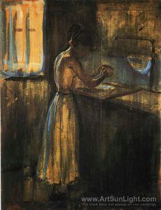 Girl Washing (Edvard Munch, 1896)