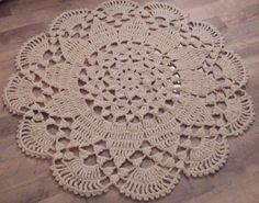 Crochet Giant Doily Rug 100 Wool Natural by ELITAI on Etsy,