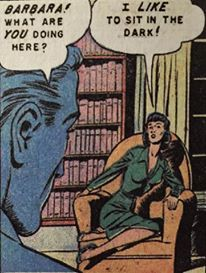 Barbara! What are You doing here. I Like to sit in the dark! Pop Art Vintage Comic