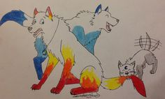 Loooooooong awaited art trade with I drew this when I was still in Germany. Fireblaze and Sumi and pupsitting Calypso for Kat whil. The Troubles of Pupsitting