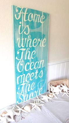 SUMMER SALE 20% OFF Home is Where The Ocean Meets The Shore Nautical Beach Sign via Etsy