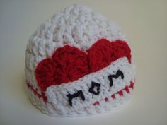 Crochet Hat Beanie With Two Hearts and the Word by SuperCrochetMom