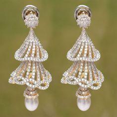 Shining White CZ Party Wear Gold Tone Indian Designer Earrings Fashion Jewelry