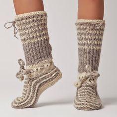 Hand Knit Wool Knee Sock - Warm, Soft, Bulgarian Slipper for Winter: Valentina on Etsy, $68.08 CAD
