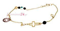 Χρυσό χειροποίητο βραχιόλι με ματάκι και σταυρό! Charmed, Bracelets, Jewelry, Bangle Bracelets, Jewellery Making, Jewerly, Jewelery, Jewels, Bracelet